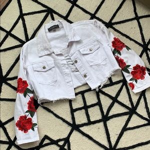 Cropped Rose Denim Jacket